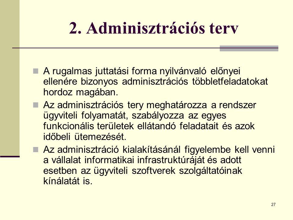 2. Adminisztrációs terv A rugalmas juttatási forma nyilvánvaló előnyei ellenére bizonyos adminisztrációs többletfeladatokat hordoz magában.