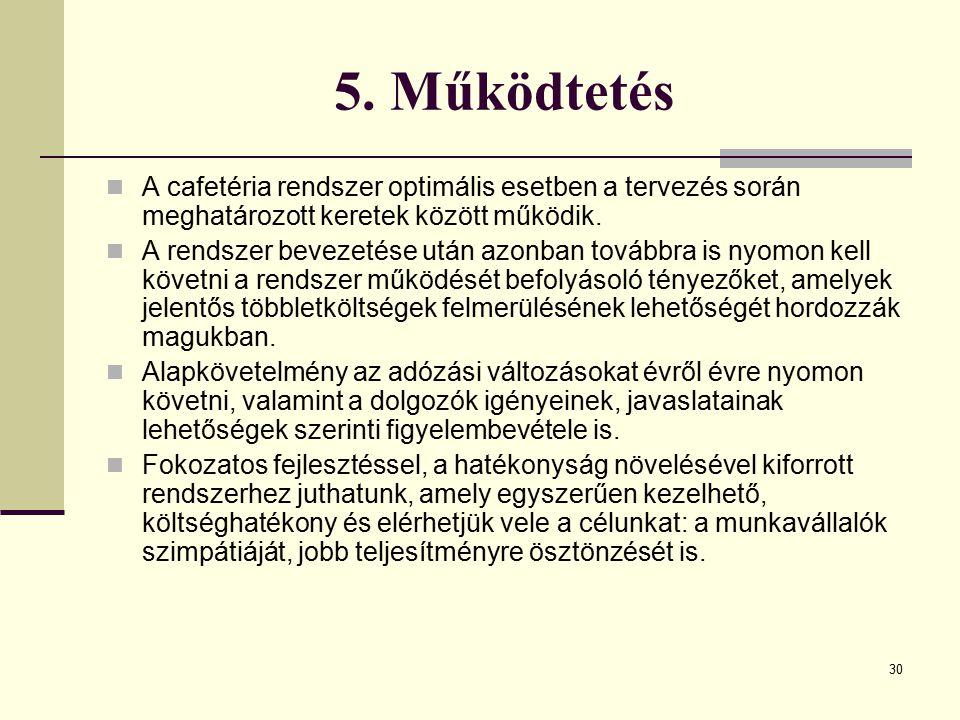 5. Működtetés A cafetéria rendszer optimális esetben a tervezés során meghatározott keretek között működik.