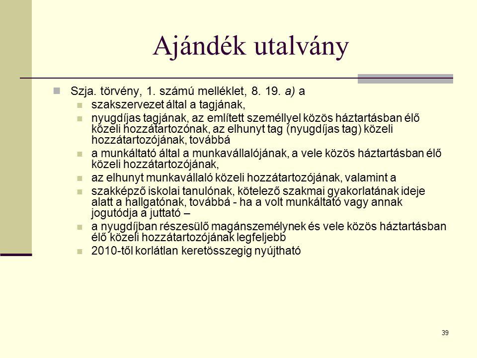 Ajándék utalvány Szja. törvény, 1. számú melléklet, 8. 19. a) a
