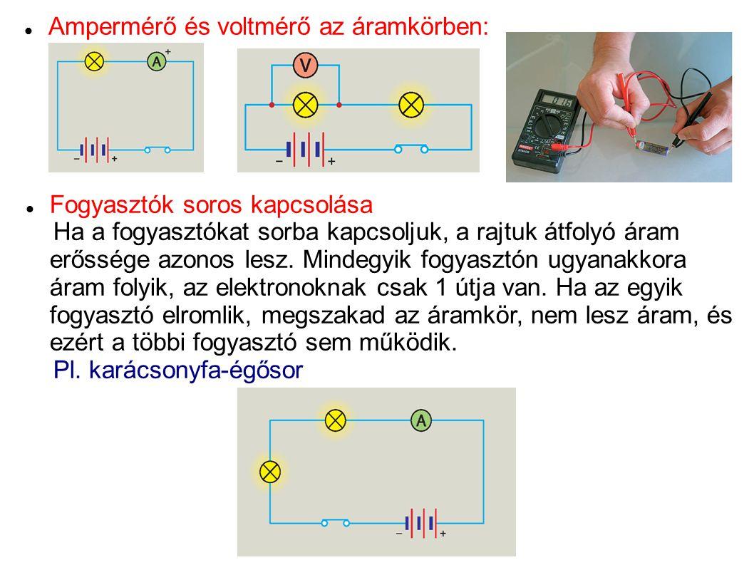 Ampermérő és voltmérő az áramkörben: