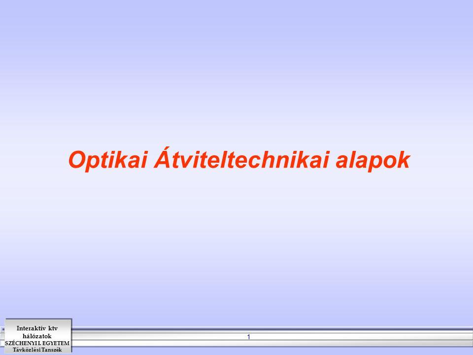 Optikai Átviteltechnikai alapok