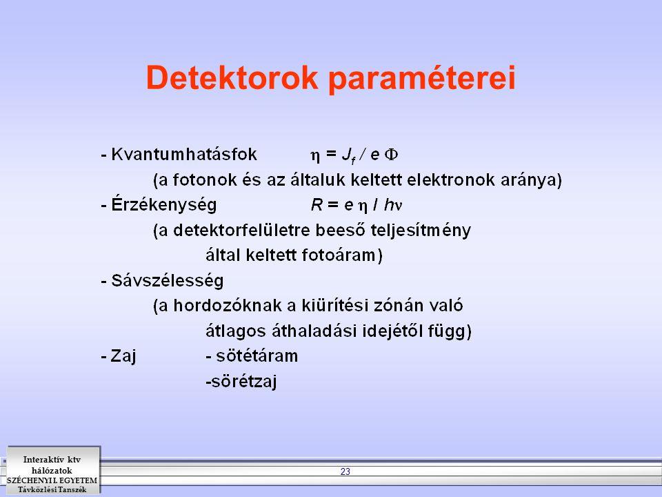 Detektorok paraméterei