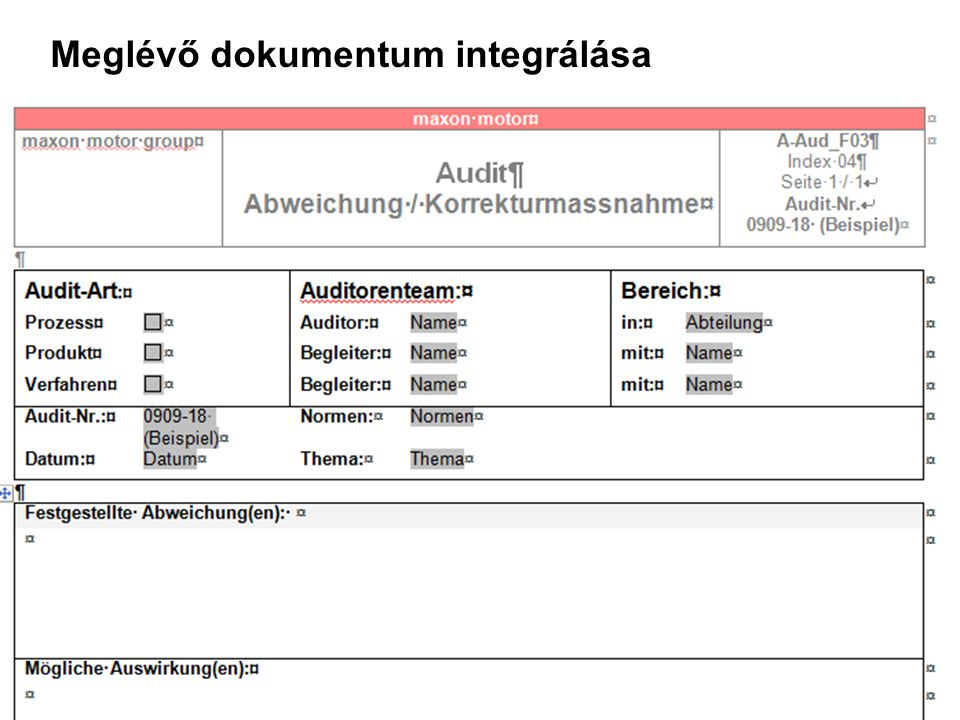 Meglévő dokumentum integrálása