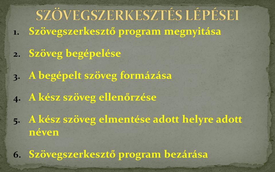 SZÖVEGSZERKESZTÉS LÉPÉSEI