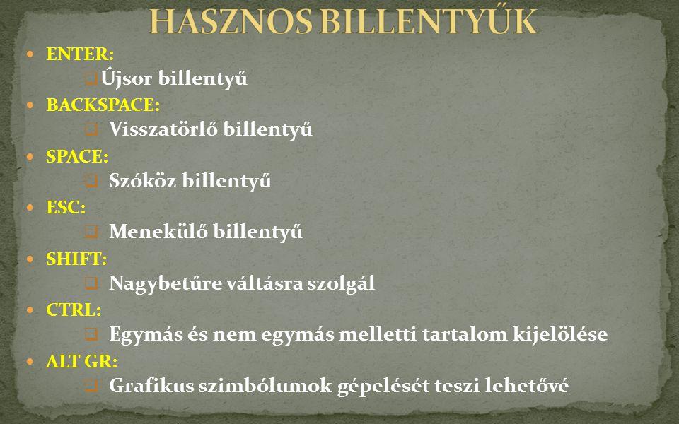 HASZNOS BILLENTYŰK Újsor billentyű Visszatörlő billentyű