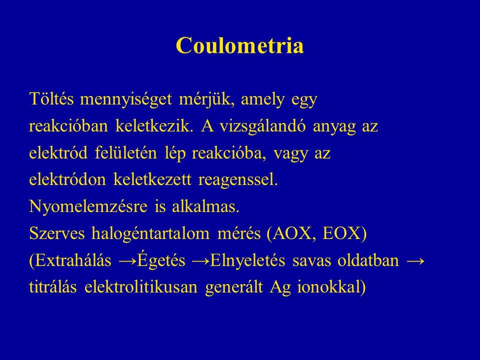 Coulometria Töltés mennyiséget mérjük, amely egy