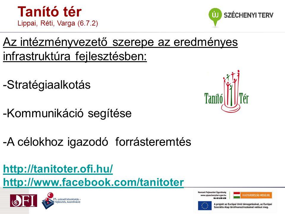 Tanító tér Lippai, Réti, Varga (6.7.2) Az intézményvezető szerepe az eredményes infrastruktúra fejlesztésben:
