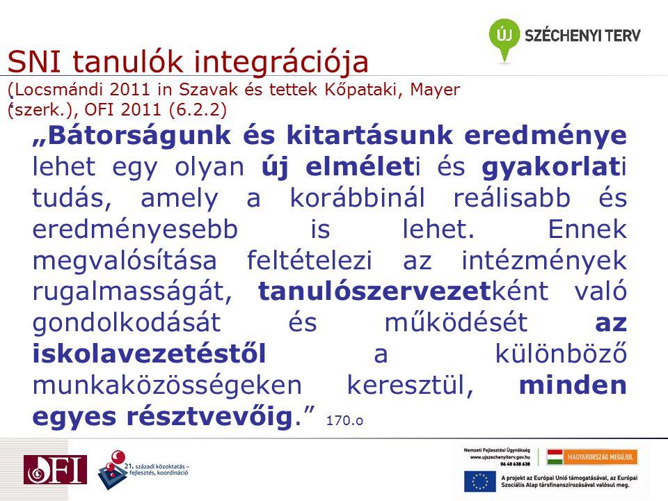 SNI tanulók integrációja (Locsmándi 2011 in Szavak és tettek Kőpataki, Mayer (szerk.), OFI 2011 (6.2.2)