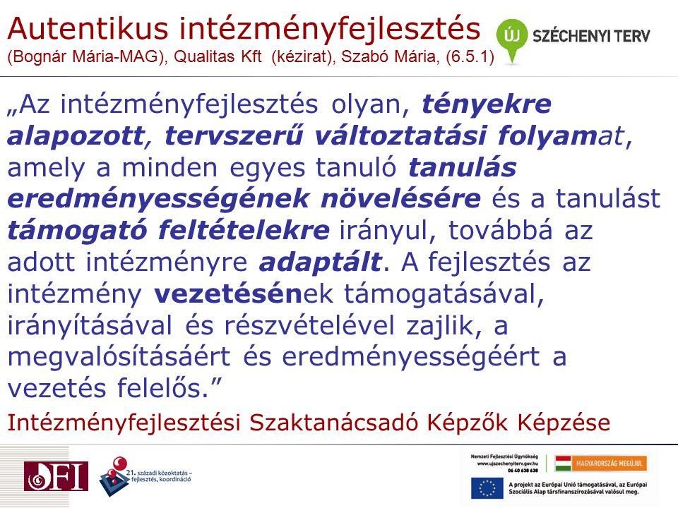 Autentikus intézményfejlesztés (Bognár Mária-MAG), Qualitas Kft (kézirat), Szabó Mária, (6.5.1)