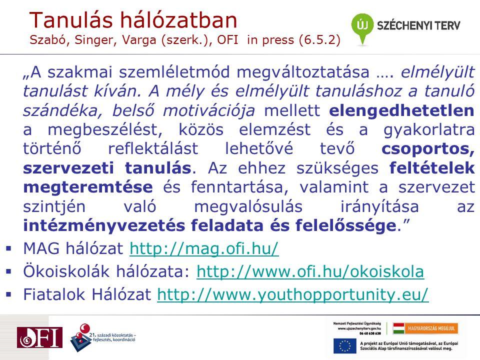 Tanulás hálózatban Szabó, Singer, Varga (szerk.), OFI in press (6.5.2)