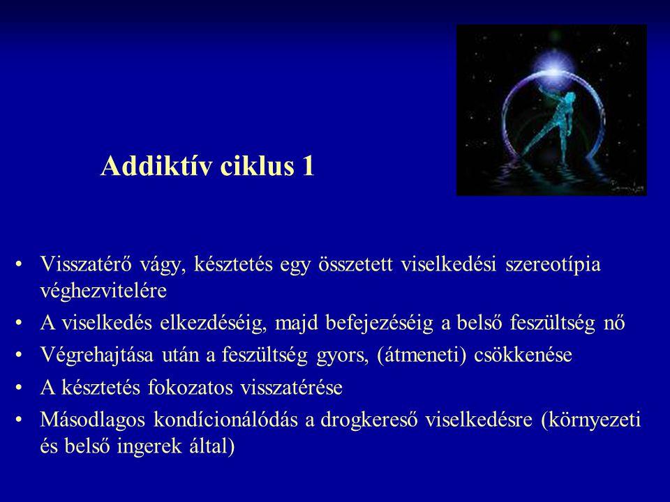 Addiktív ciklus 1 Visszatérő vágy, késztetés egy összetett viselkedési szereotípia véghezvitelére.