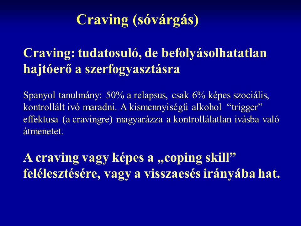 Craving (sóvárgás) Craving: tudatosuló, de befolyásolhatatlan hajtóerő a szerfogyasztásra.