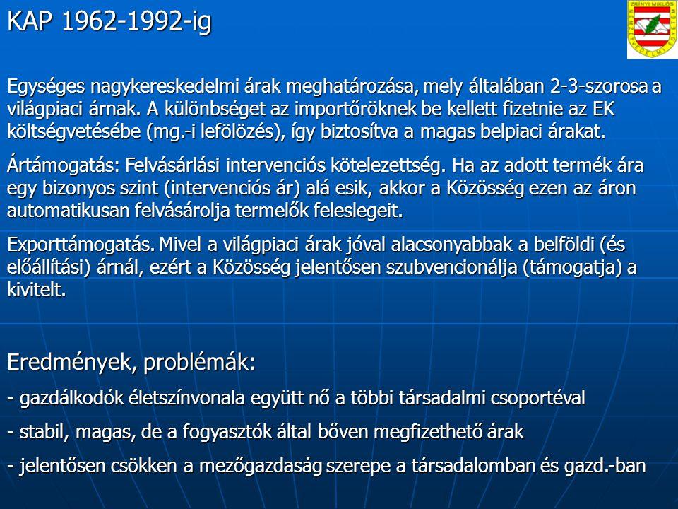 KAP 1962-1992-ig Eredmények, problémák: