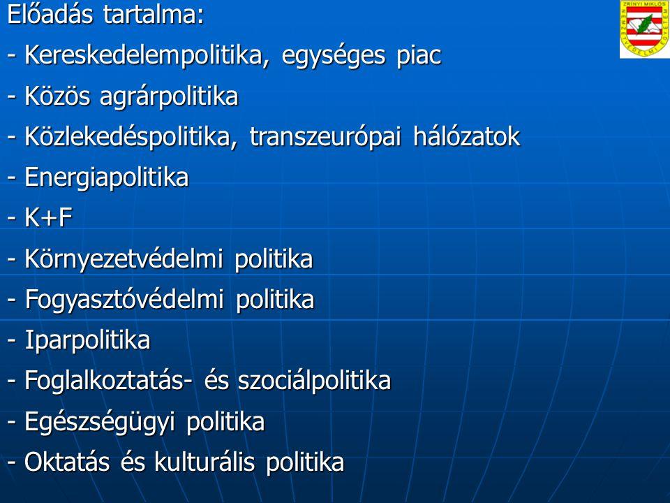 Előadás tartalma: - Kereskedelempolitika, egységes piac. - Közös agrárpolitika. - Közlekedéspolitika, transzeurópai hálózatok.