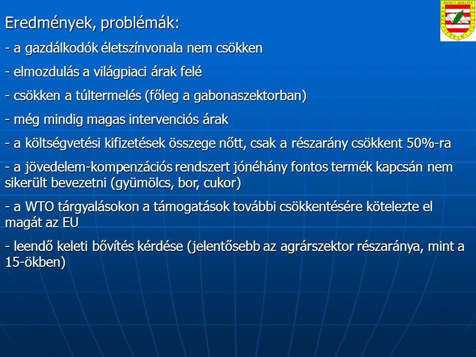 Eredmények, problémák: