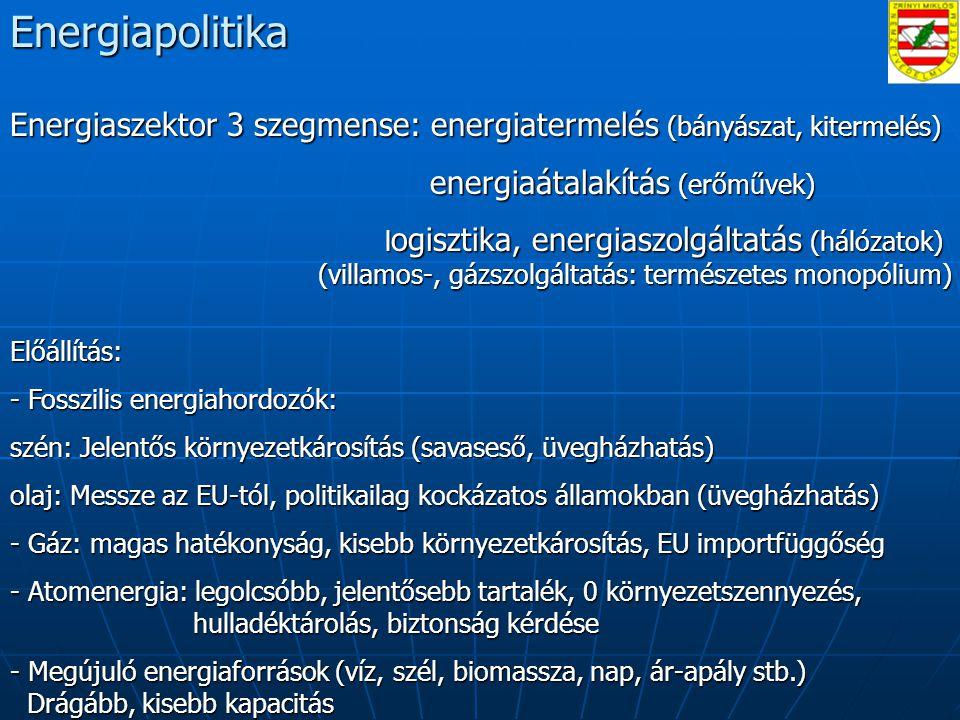 Energiapolitika Energiaszektor 3 szegmense: energiatermelés (bányászat, kitermelés) energiaátalakítás (erőművek)