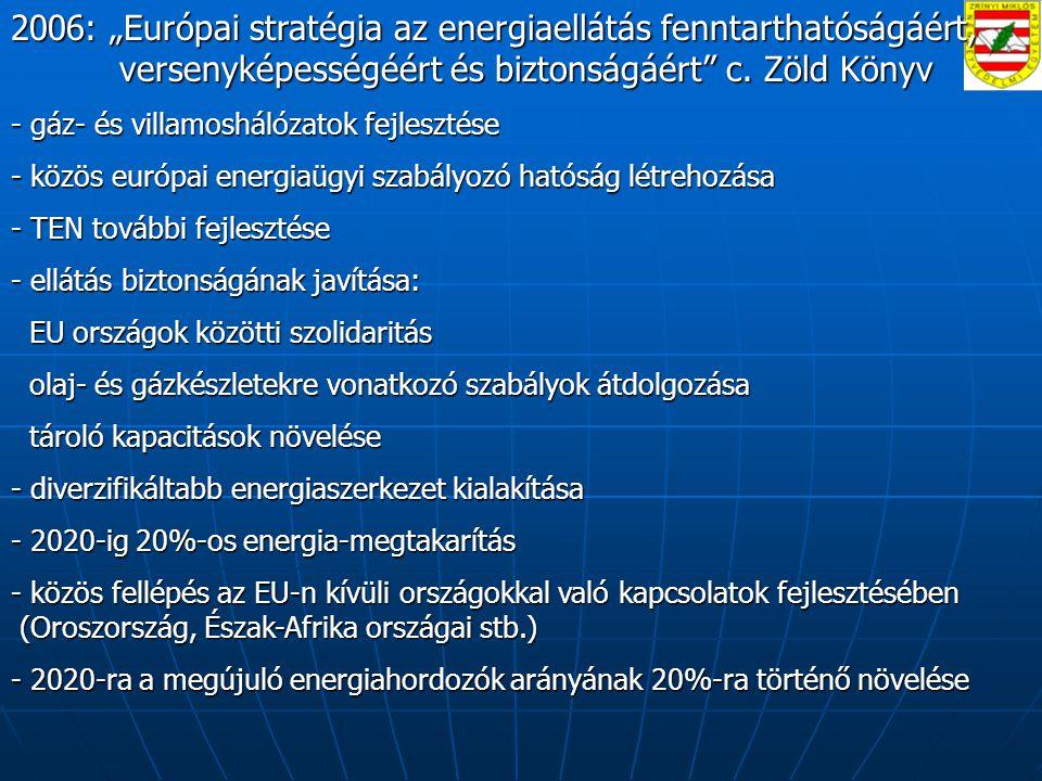 """2006: """"Európai stratégia az energiaellátás fenntarthatóságáért, versenyképességéért és biztonságáért c. Zöld Könyv"""
