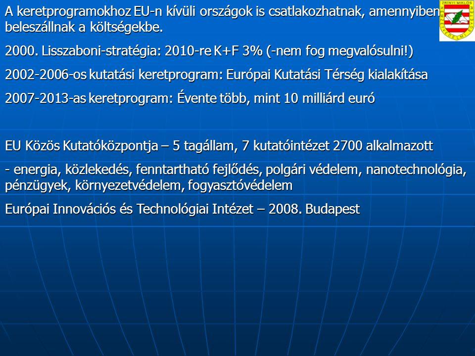 A keretprogramokhoz EU-n kívüli országok is csatlakozhatnak, amennyiben beleszállnak a költségekbe.