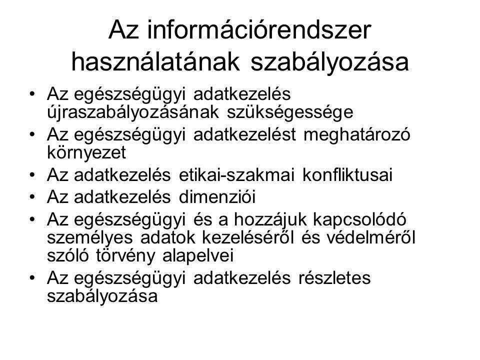 Az információrendszer használatának szabályozása