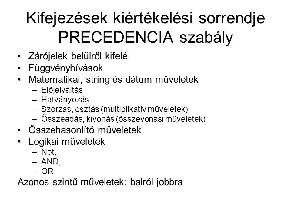 Kifejezések kiértékelési sorrendje PRECEDENCIA szabály