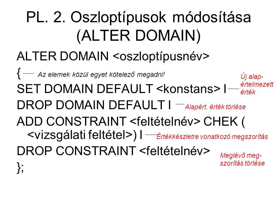 PL. 2. Oszloptípusok módosítása (ALTER DOMAIN)