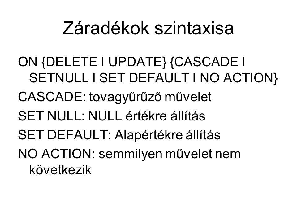 Záradékok szintaxisa ON {DELETE I UPDATE} {CASCADE I SETNULL I SET DEFAULT I NO ACTION} CASCADE: tovagyűrűző művelet.