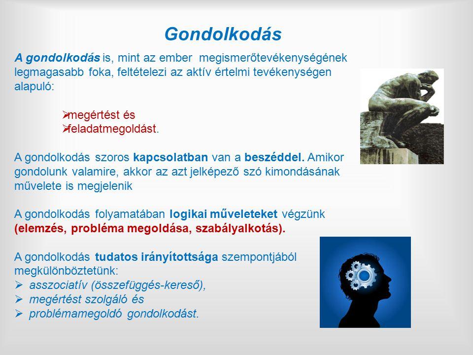 Gondolkodás A gondolkodás is, mint az ember megismerőtevékenységének legmagasabb foka, feltételezi az aktív értelmi tevékenységen alapuló: