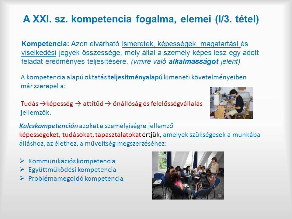 A XXI. sz. kompetencia fogalma, elemei (I/3. tétel)