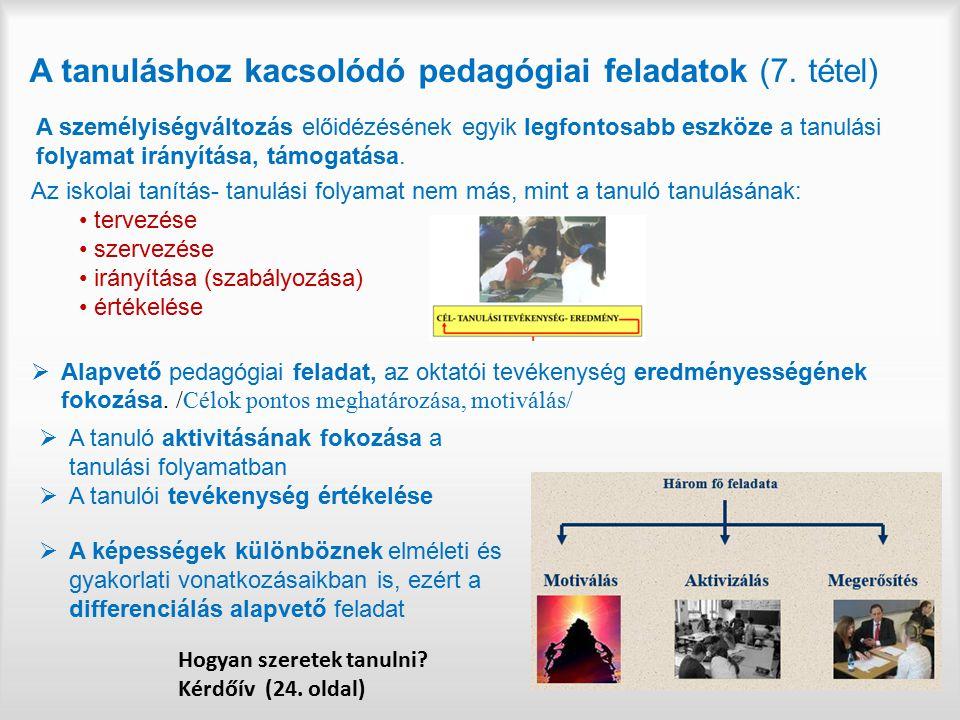 A tanuláshoz kacsolódó pedagógiai feladatok (7. tétel)
