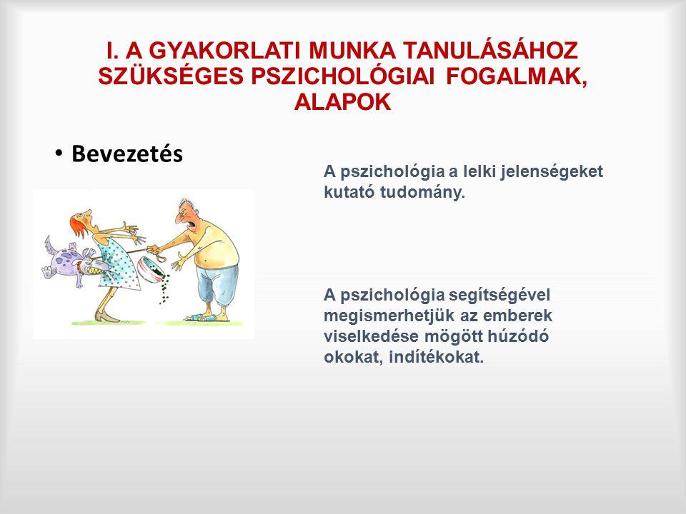 I. A GYAKORLATI MUNKA TANULÁSÁHOZ SZÜKSÉGES PSZICHOLÓGIAI FOGALMAK, ALAPOK