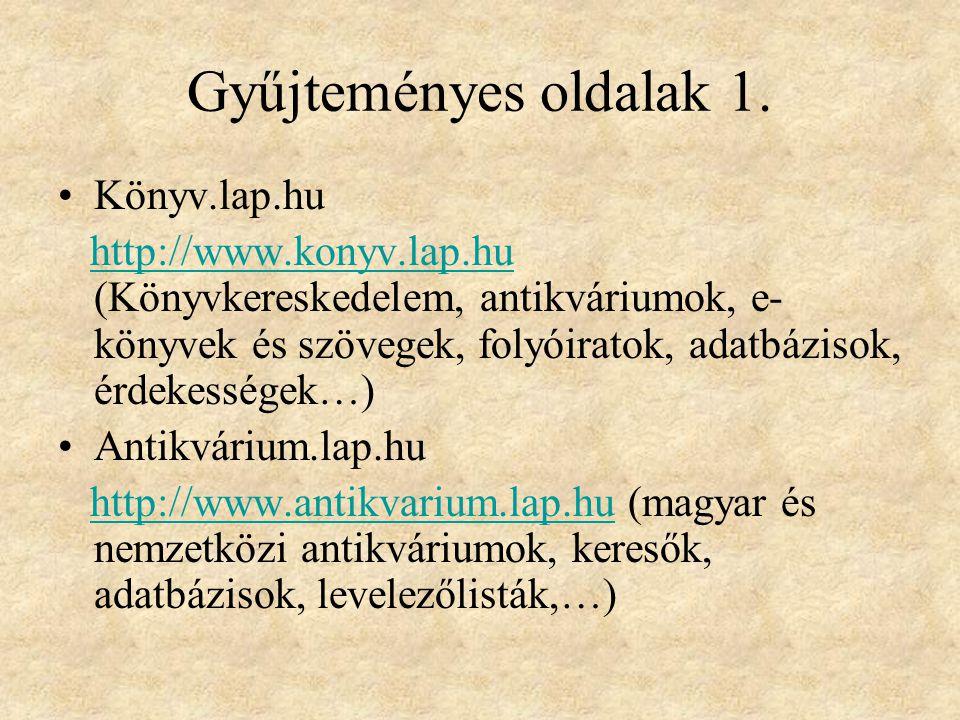 Gyűjteményes oldalak 1. Könyv.lap.hu