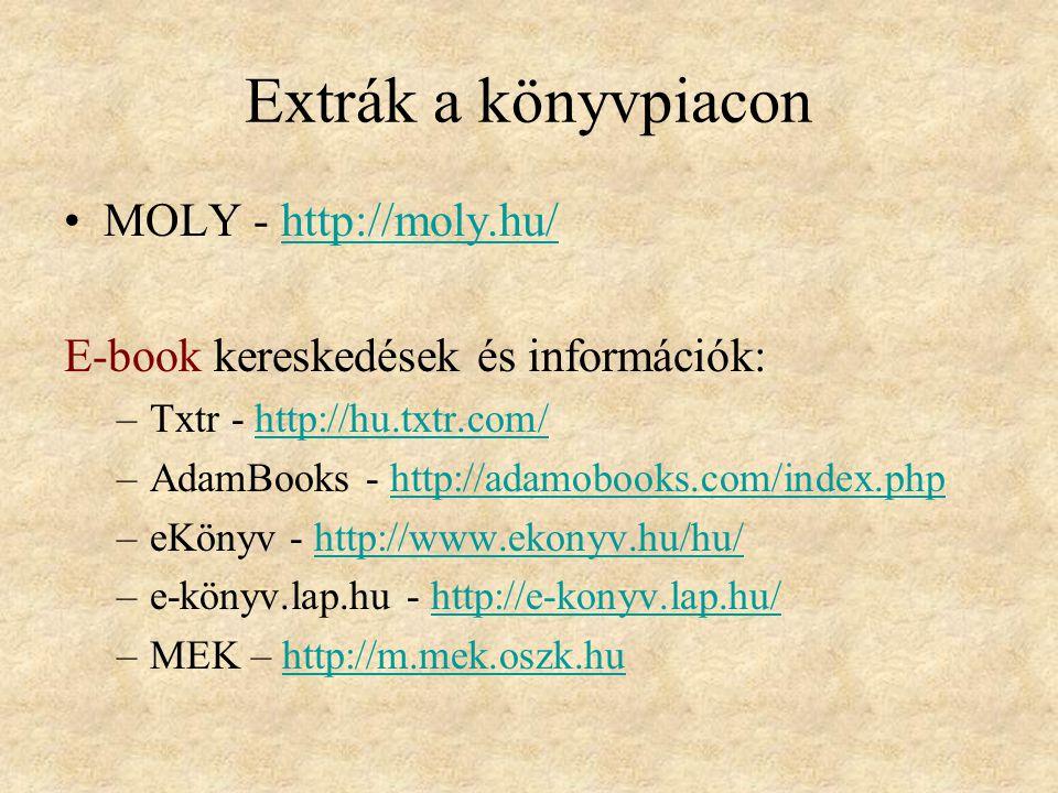 Extrák a könyvpiacon MOLY - http://moly.hu/