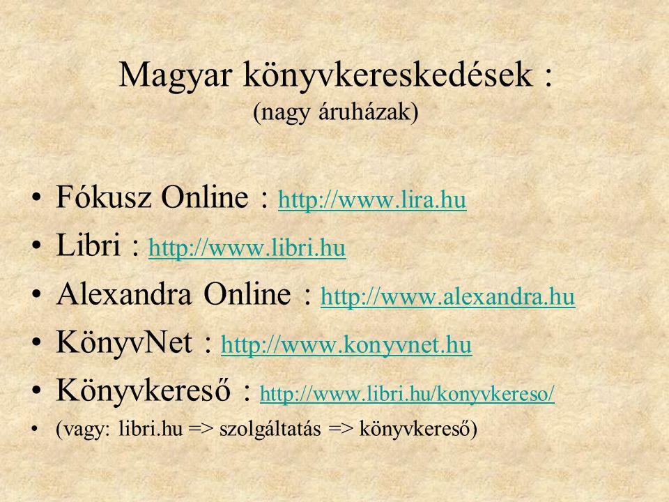 Magyar könyvkereskedések : (nagy áruházak)