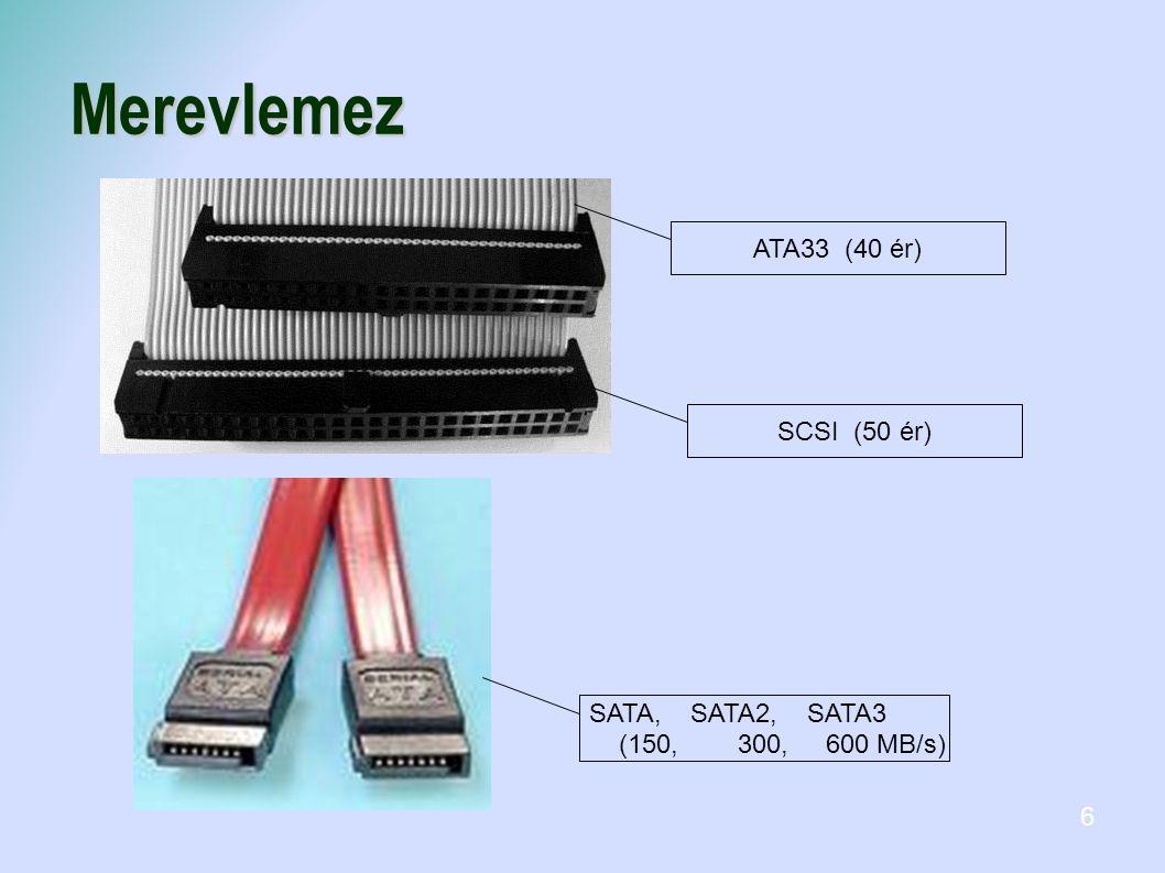 Merevlemez ATA33 (40 ér) SCSI (50 ér) SATA, SATA2, SATA3