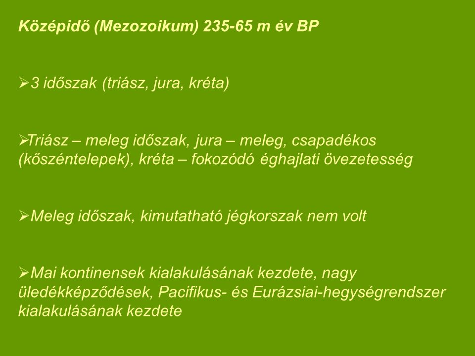 Középidő (Mezozoikum) 235-65 m év BP
