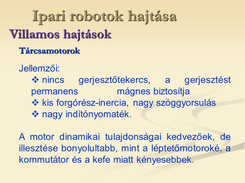 Ipari robotok hajtása Villamos hajtások Tárcsamotorok Jellemzői:
