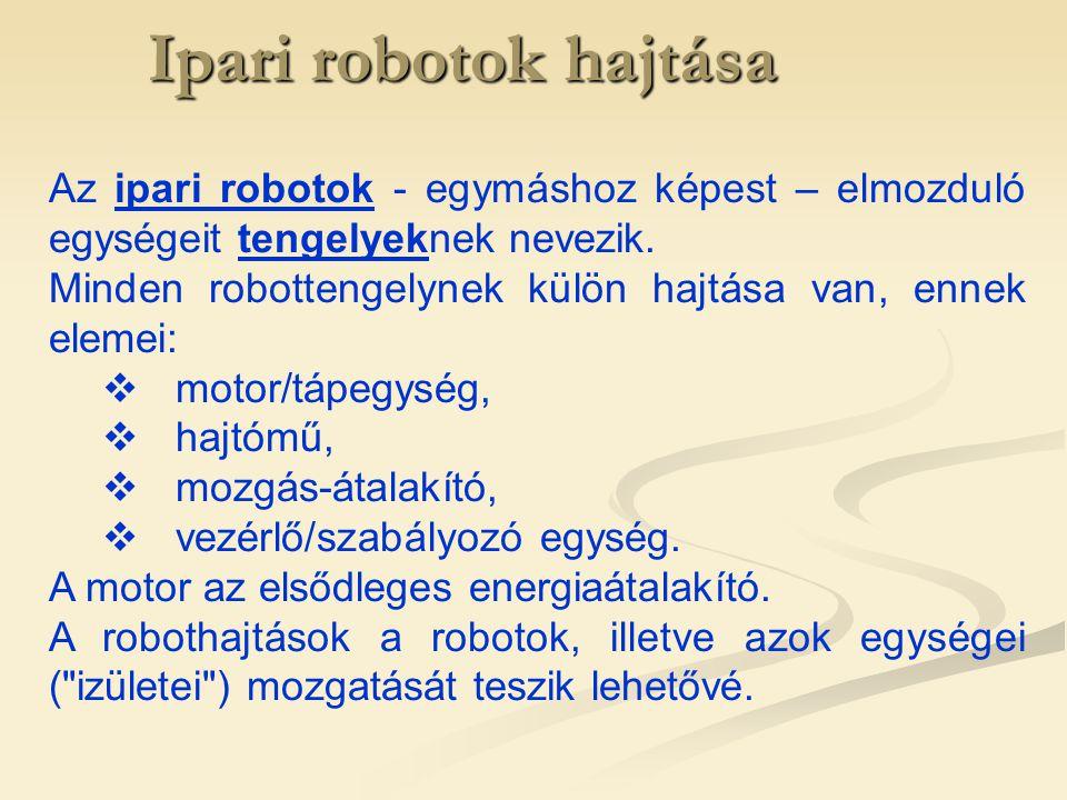 Ipari robotok hajtása Az ipari robotok - egymáshoz képest – elmozduló egységeit tengelyeknek nevezik.