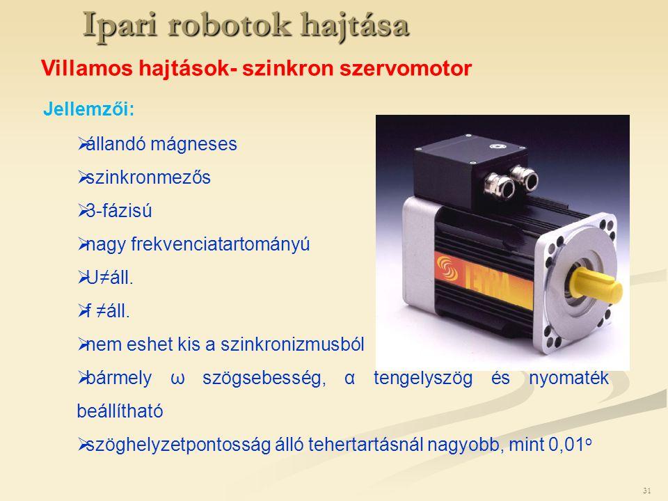 Ipari robotok hajtása Villamos hajtások- szinkron szervomotor