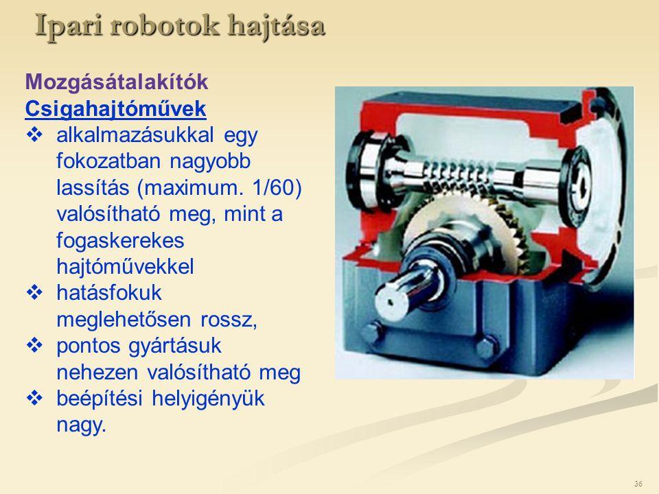 Ipari robotok hajtása Mozgásátalakítók Csigahajtóművek