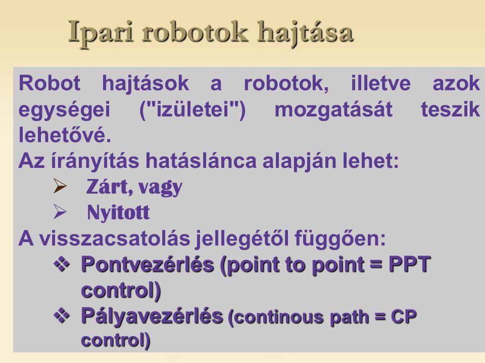 Ipari robotok hajtása Robot hajtások a robotok, illetve azok egységei ( izületei ) mozgatását teszik lehetővé.