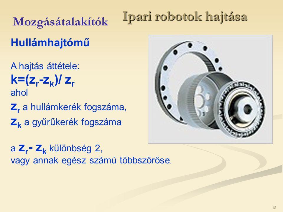 Ipari robotok hajtása Mozgásátalakítók k=(zr-zk)/ zr
