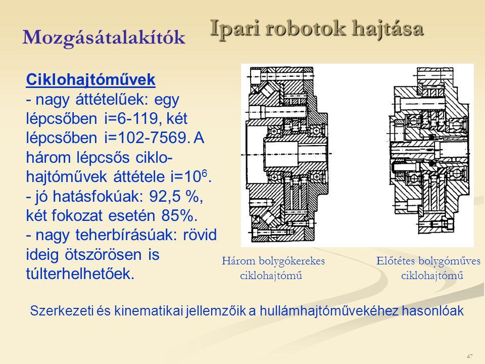 Ipari robotok hajtása Mozgásátalakítók Ciklohajtóművek