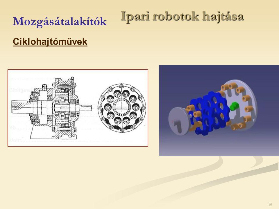 Ipari robotok hajtása Mozgásátalakítók Ciklohajtóművek 49 49