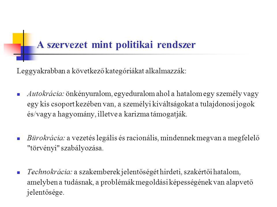 A szervezet mint politikai rendszer