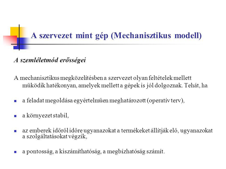 A szervezet mint gép (Mechanisztikus modell)