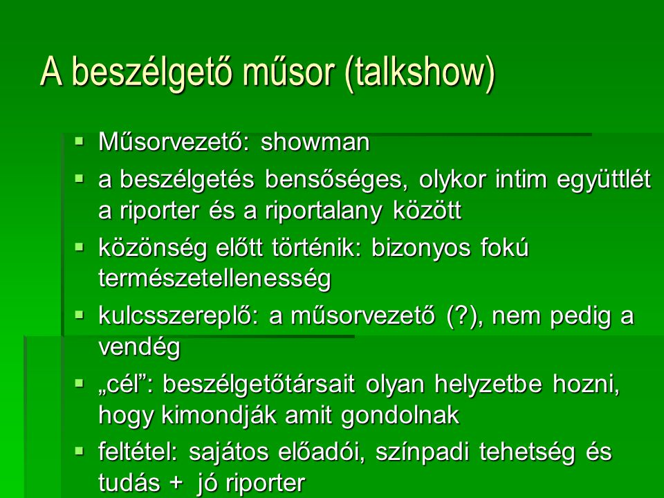 A beszélgető műsor (talkshow)