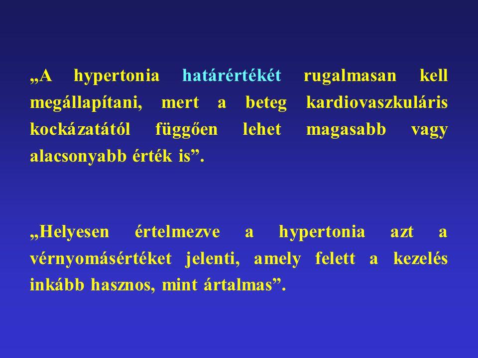 """""""A hypertonia határértékét rugalmasan kell megállapítani, mert a beteg kardiovaszkuláris kockázatától függően lehet magasabb vagy alacsonyabb érték is ."""