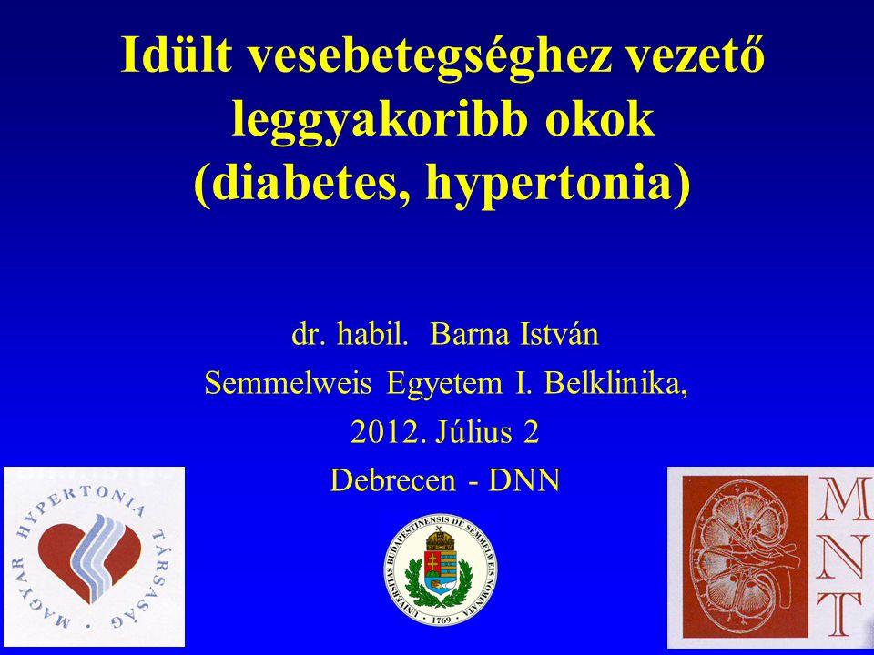Idült vesebetegséghez vezető leggyakoribb okok (diabetes, hypertonia)