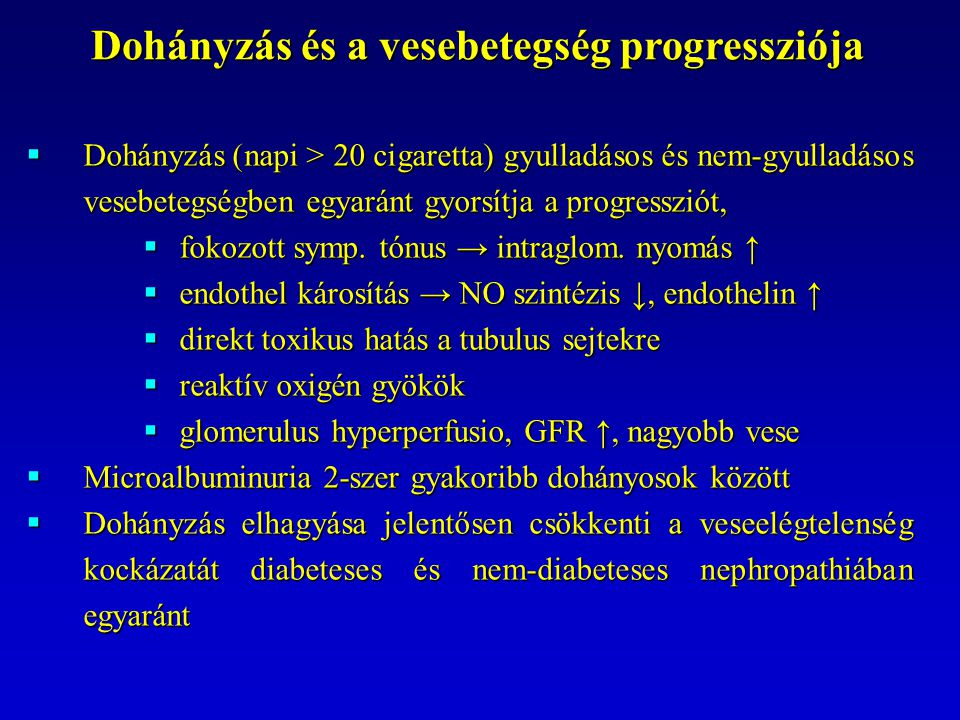 Dohányzás és a vesebetegség progressziója