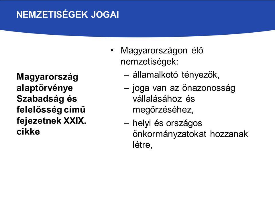 NEMZETISÉGEK JOGAI Magyarország alaptörvénye Szabadság és felelősség című fejezetnek XXIX. cikke. Magyarországon élő nemzetiségek:
